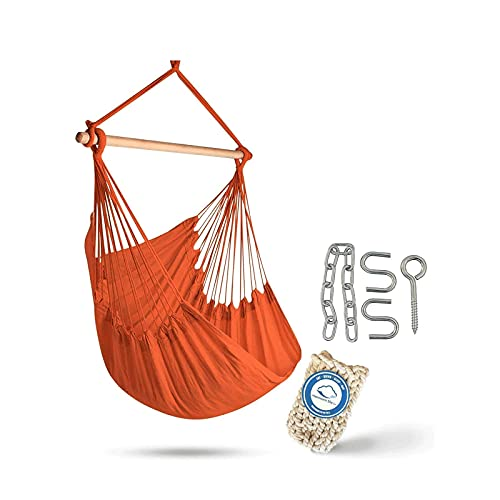XiYou Tejido de algodón de Calidad para una Comodidad Superior, Durabilidad Silla con Asiento oscilante Grande para Patio, Dormitorio o árbol