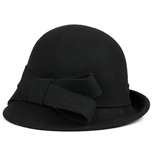 YDY Herbst- und Wintermütze, mittelalter und älterer Damen, Wollmütze, dicke Filzhüte, Outdoor-Jazzhüte, reine Wolle, Frauenhut, 2,54–60 cm