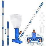S-Union - Kit de aspiración para piscina mejorado, lavabo portátil para aspiradora de piscina con cepillo, bolsa para hojas y poste de 40 pulgadas, ideal para piscinas inflables y sobre el suelo