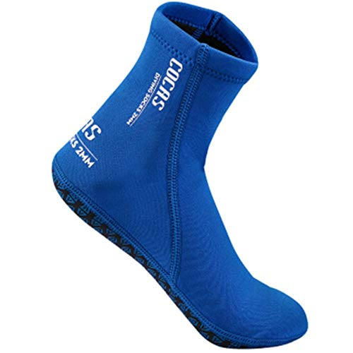 Diving Socks Men's and Women's Diving Snorkeling Swimming Quick-Drying Non-Slip Cutting Diving Socks 3MM Adult Non-Slip Flexible Diving Socks (Color : Blue, Size : S)