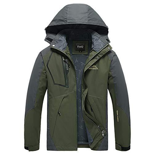 FoxQ Men's Lightweight Softshell Windbreaker Rain Jacket Outdoor Hiking Coat (Large, A Army Green)