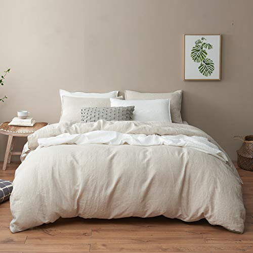 DAPU Pure Linen Duvet Cover Set, 100% Natural French Linen from Normandy, Breathable and Durable for Hot Sleepers, 1 Duvet Cover and 2 Pillowcases (Natural Linen, King)