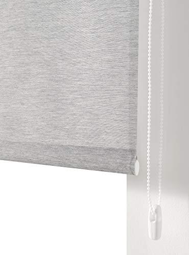Estoralis BRAN Estor Enrollable Liso Translucido, Poliester, Gris Claro, 130 x 175 cm