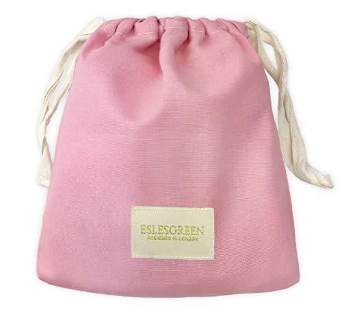 ESLESGREEN Bolsa algodón orgánico para mudas - Bolsa para merienda - Bolsa Primera Puesta - Bolsa Infantil para guardería (Pink)