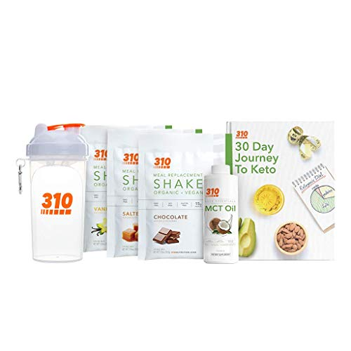 Keto Starter Kit by 310 Nutrition - Includes Vegan Organic Meal Replacement Shake, MCT Oil, Shaker Cup and E-Book (Variety)