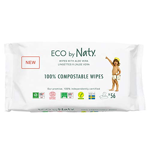 Eco by Naty Aloe Vera Baby Wipes, 672 Count, Plant Based Compostable Wipes, 0% Plastic. No Nasty Chemicals. (245036), Aloe vera (56 Count (Pack of 12))