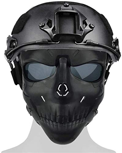 Tactical Helmet And Anti-Fog Air Gun Mirror, Full Face Mask with Lens Protection, Dual Mode Wearing Design, Adjustable Paintball Shooting Role-Playing Costume Party,BK