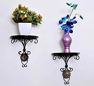 Future Arts Hanging Wall Bracket for Corners Wall Living Room and Multi Purpose Utility Wooden Iron Wall Shelf ( Black )