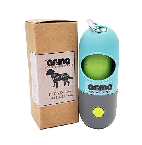 Dispensador de bolsas de perro Aroma con linterna LED incorporada y clip de correa, accesorio para caminar para perros (1)