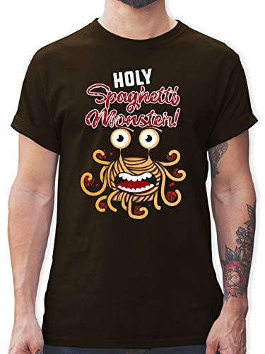 Statement - Holy Spaghetti Monster! - XXL - Braun - Monster Tshirt Herren - L190 - Tshirt Herren und Männer T-Shirts