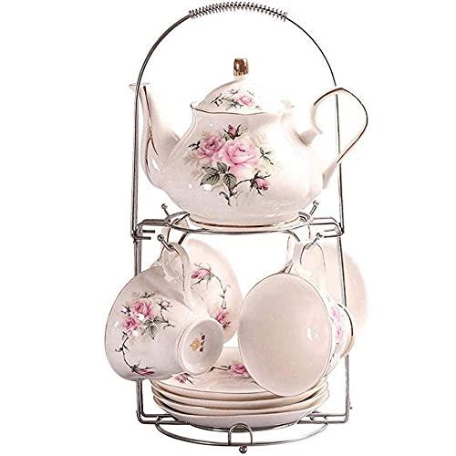 XiYou Juego de té de cerámica clásica Europea, Juego de té de café con Estampado de Camelia Rosa Vintage, para el hogar, Oficina, Boda, 9 Piezas, Regalo