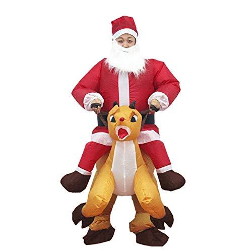 Fanville Disfraz de Papá Noel Inflable, Traje de Navidad Inflable, Traje de Papá Noel con Montura de Reno, Disfraz Inflable para Adulto