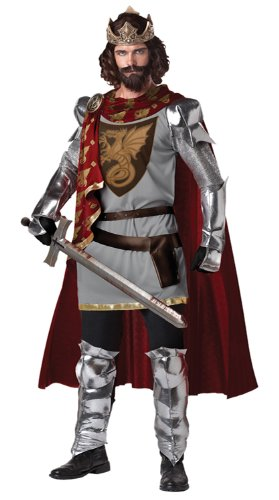 California Costumes Men's King Arthur Adult, Silver/Red, X-Large