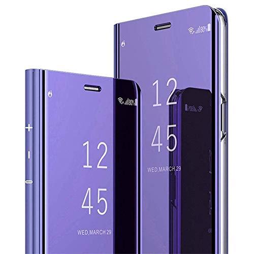 Coque Samsung Galaxy A21 Miroir Etui à Rabat Cuir,Clear View Placage Miroir Effet Folio à Clapet Flip Case,JAWSEU Transparente Standing 360 Degrés Housse de Protection pour Galaxy A21(Violet)