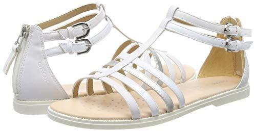 Geox J Sandal Karly Girl D, Punta Aperta Bambina, Bianco (White C1000), 34 EU