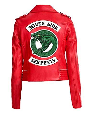 """wowstore - Giacca da motociclista in ecopelle, da donna, stile Riverdale, con scritta """"South Side Serpents"""", Cheryl Blossom Rosso S"""