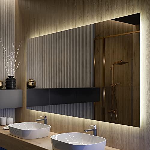 FORAM Espejo de Baño con Iluminación LED - Luz Espejo de Pared con Accesorios - Diferentes tamaños para Baño Dormitorio Maquillaje - L58