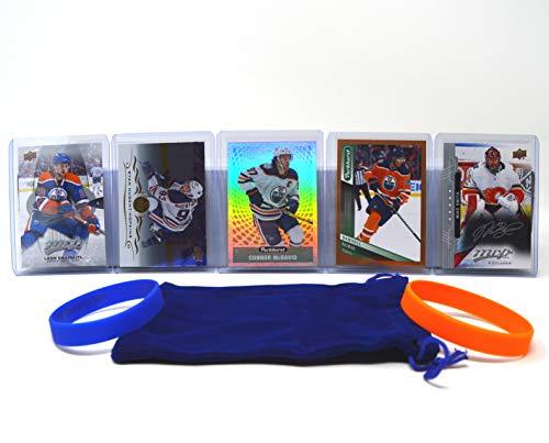 Edmonton Oilers Cards: Connor McDavid, Leon Draisaitl, Ryan Nugent-Hopkins, Darnell Nurse, Mike Smith ASSORTED Hockey Trading Card and Wristbands Bundle