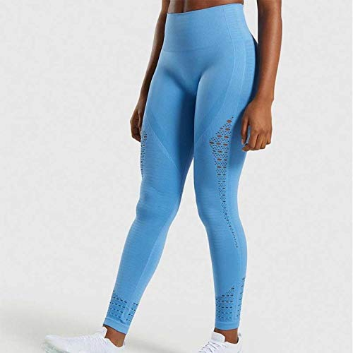 Loungebroek voor Yoga Summer Beach,Holle trainingsbroek met hoge taille, naadloze heupbroek-Lake Blue_L,Stretch Gym Workout Running Legging