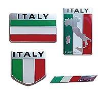 TK.Felly アルミプレート イタリア エンブレム ステッカー 国旗 車 装飾 デコレーション フラッグ 防水 4種類セット