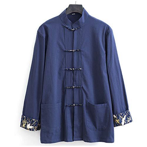 ZHOUXIAO Luźny Tang SuitTai Chi mundurek mężczyźni chińskie tradycyjne ubrania Kung Fu Wing Chun ubrania spodnie, duży rozmiar długi rękaw Hanfu kurtka koszula płaszcz sztuki walki garnitur niebieski - 7XL