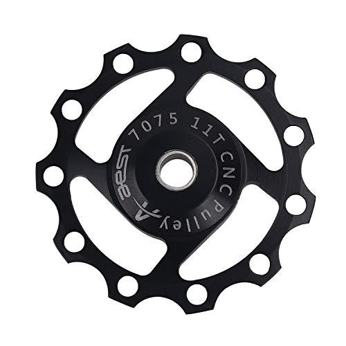 DEBAIJIA Trasero de Desviador Jockey Rueda 11T Polea de Cambio Trasero Guía Polea Aleación de Aluminio Cojinetes sellados Accesorios para Ciclismo de Montaña Bicicleta - Negro