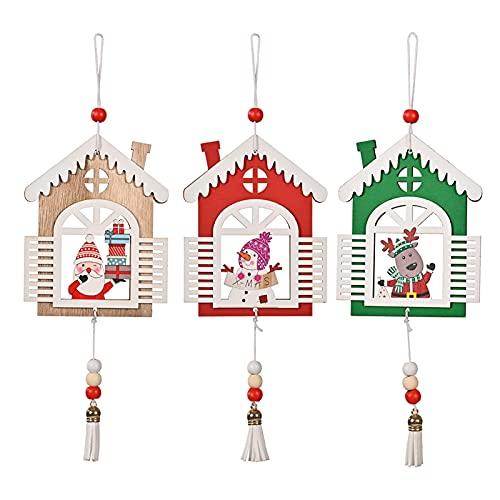3 decorazioni natalizie in legno con cordino, decorazione per albero di Natale, decorazione rustica per albero di Natale, decorazione natalizia da appendere