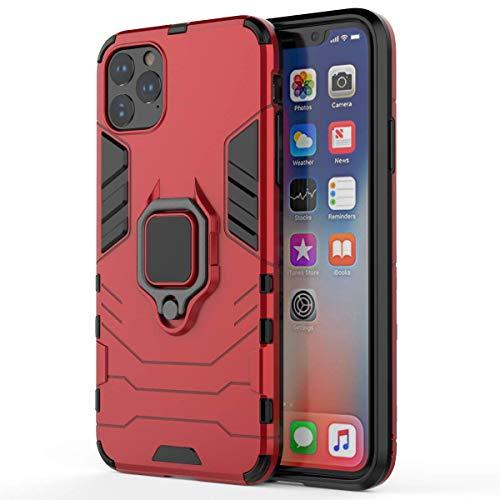 Funda de silicona compatible con iPhone 11 Pro Max, con soporte, carcasa rígida, con anillo de 360 grados, soporte magnético, resistente a los arañazos rojo talla única