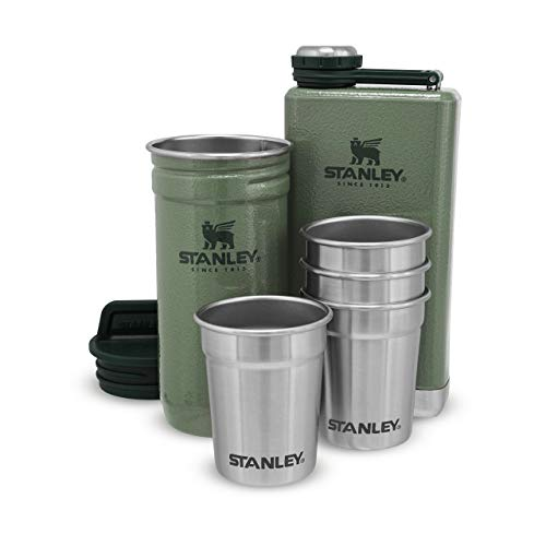 Stanley Adventure Pre-Party Shot Glass + Flask Set Hammertone Green – sans BPA |Flasque en Acier Inoxydable | Verres à Shot | Coffret Cadeau | Passe au Lave-Vaisselle | Garantie à Vie