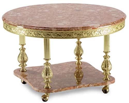 Casa Padrino Mesa de Centro Barroco de Lujo marrón Rosa/Oro Ø 80 x A. 43 cm - Mesa de salón Redonda de latón con Tapa de mármol y Ruedas - Muebles de salón barrocos