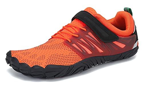 SAGUARO Hombre Mujer Minimalistas Zapatillas de Deporte Trail Running Calzado Caminar Cómodas Senderismo Ciclismo Ligeras Deportivas Andar Trekking Montaña Agua Exterior Interior(058 Naranja, 43 EU)