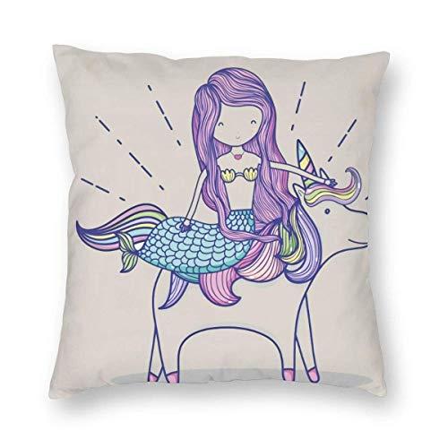 SUN DANCE Funda de almohada de sirena, diseño de sirenita con unicornio, de terciopelo, cuadrada, estándar, decoración para el hogar, para hombres/mujeres, 45,7 x 45,7 cm, color blanco y morado