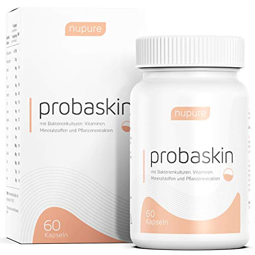 Biotin, Zink und Selen für Gesunde Haut - 60 Kapseln mit 2 Kapsel-System - 6 spezielle Bakterienkulturen - Nupure Probaskin