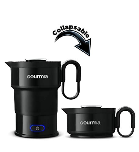 Gourmia GK348 Electric Collapsible Travel Kettle - Foldable & Portable - Fast Boil - Easy Storage - Water Boiler For Coffee, Tea & More - Food Grade Silicone - Boil Dry Protection -20 oz capacity - Black