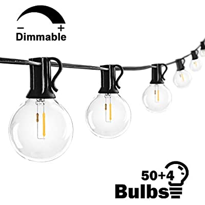 50FT G40 LED Globe Patio String Lights with 54 LED Clear Bulbs, Waterproof Dimmable Edison Bulb String Lights, Outdoor Indoor Cafe Lights Bistro Lights Room Lights for Pergola Tents Gazebo- Black