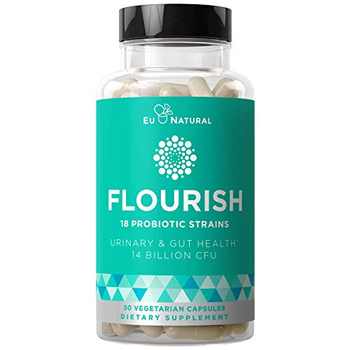 Flourish Probiotics + Prebiotics for Women - Gut & Digestion Urinary Tract Reduce Bloating Vaginal Health - 18 Clinically Proven Strains 14 Billion CFU - 30 Shelf-Stable Vegetarian Capsules