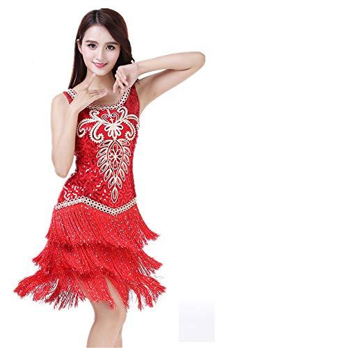 Uiophjkl Latin Dancewear Vrouwen Danskleding Bloemen Pailletten Ballroom Samba Tango Latijnse Dans Jurk Competitie Kostuums Gatsby Sway Cocktail Fringe Jurk (Kleur: Rood, Maat : Een maat)