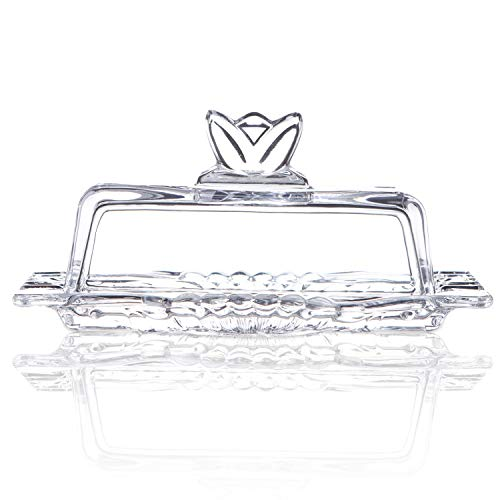 Glass Butter Dish with Lids, JH JIEMEI HOME Multi-Purpose Serving Dessert Dish Tray Food Preserving For Home & Kitchen Glassware for Cream Cheese, Cake, Candy