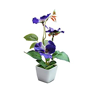 IOAOAI Artificial Flower in Pot- Fake Plant Plastic Pot Artificial Bonsai Ornaments for Garden Table Party Room Wedding Home Office