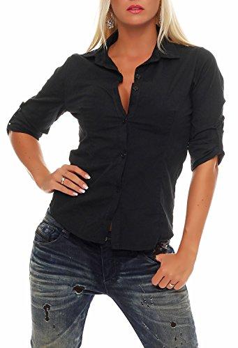 Malito Damen Bluse klassisch | Tunika mit ¾ Armen | Blusenshirt auch Langarm tragbar | Elegant - Shirt 8030 (schwarz, XL)