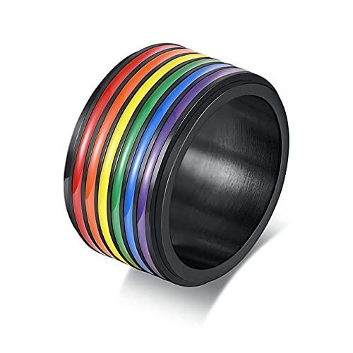 KnSam Anillo para hombre, anillo de boda vintage de acero inoxidable, arco iris, anillo de hombre, anillo de boda, para mujer, negro, Acero inoxidable,