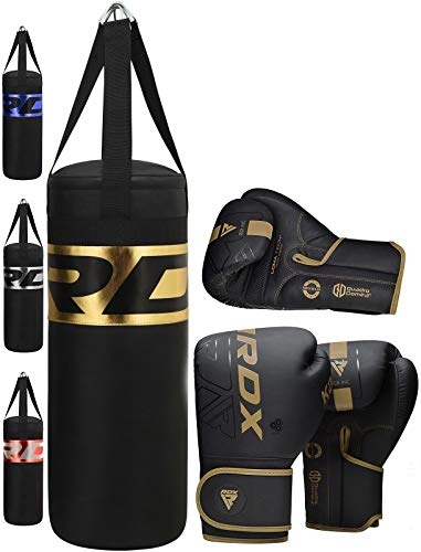RDX Kinder Boxsack Set Gefüllt Kampfsport Boxandschuhe Heavy Kickboxen MMA Muay Thai Boxen Mit Junior Training Handschuhe Sandsack 2FT Punching Bag (MEHRWEG)