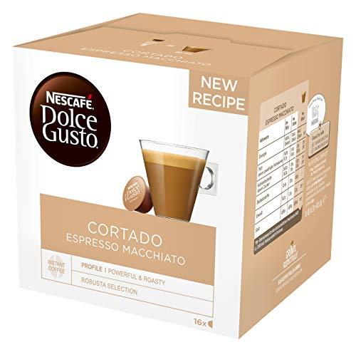 NESCAFÉ Dolce Gusto Cortado Espresso Macchiato, 16 Kaffeekapseln(Robusta und Arabica Bohnen, Spanischer Milchkaffee, Ein Hauch Cremigkeit, Aromaversiegelte Kapseln) 1er Pack (1 x 16 Kapseln)