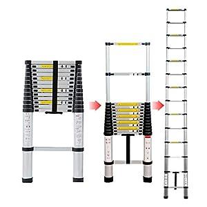 4.1M Escalera Telescópica Aluminio Multiusos Portátil Escalera Plegable para Trabajo en Interiores y Exteriores (4.1M)