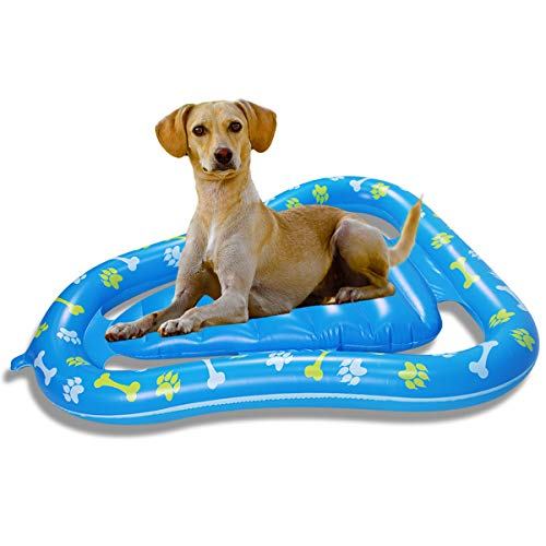 Felenny Flotador de Piscina Inflable Flotador de Piscina para Perros Balsa Flotante Inflable para Mascotas para Juego de Agua de Piscina Al Aire Libre