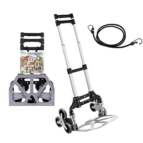 Carro de mano plegable de aluminio, 75 kg de capacidad, carretilla de transporte con bungees ideal para el hogar, auto, oficina, viajes