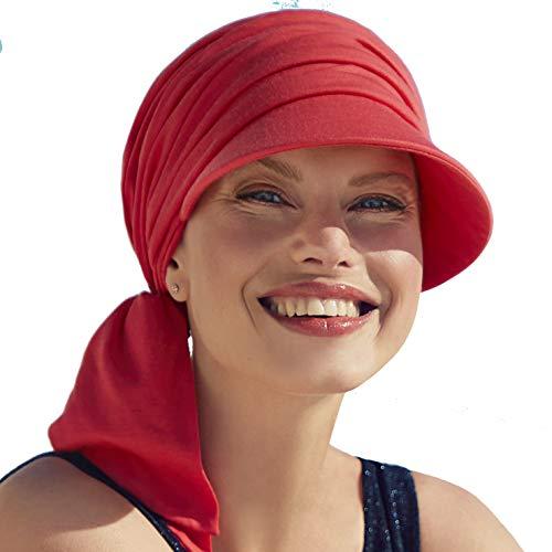 Drapierte Onkokappe aus Baumwolle mit Visier und Sonnenschutz Index 50+ für Frauen, Behandlung mit Chemotherapie (Himbeerrot)