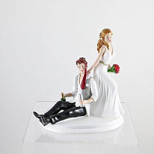 Dekora 305133 Betrunkenes Brautpaar Figur für Hochzeitstorte 14 cm, Schwarz/Weiß