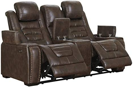 Best Signature Design by Ashley Game Zone Power Reclining Loveseat Console Adjustable Headrest Bark