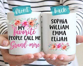 Grand-Mere regalo para regalo de Navidad | Grand-Mere taza de café | Taza personalizada | Grand-Mere Taza personalizada | Regalo para el día de la madre